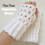 Criss Cross Fingerless Gloves by Rhelena of CrochetN'Crafts