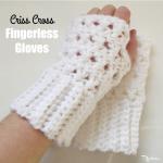 Criss Cross Fingerless Gloves by Rhelena of CrochetN'Crafts