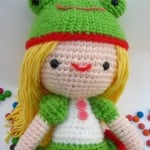 Kelly Girl with Frog Hat Amigurumi by Jenny and Teddy