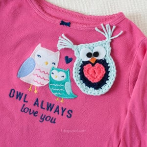 Owl Always Love You Crochet Owl Applique by One Dog Woof