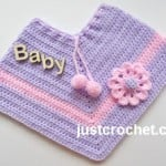 Poncho with Applique Flower by JustCrochet