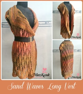 Sand Waves Long Vest by Maz Kwok's Designs
