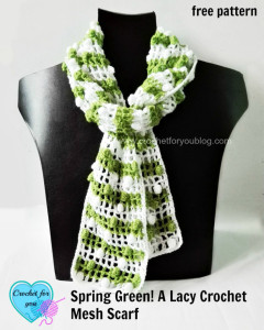 Spring Green A Lacy Crochet Mesh Scarf by Erangi Udeshika of Crochet For You