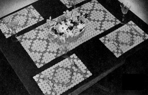 Blue Ribbon Luncheon Set #7109 by Free Vintage Crochet