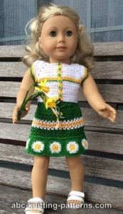 American Girl Doll Fields of Daisies Skirt and Top by ABC Knitting Patterns