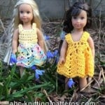 American Girl Doll Mini Sundress, Skirt and Top Summer Set by ABC Knitting Patterns