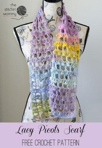 Lacy Picots Scarf by The Stitchin Mommy - Crochet Pattern Bonanza