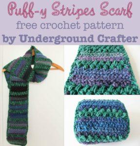 Puff-y Stripes Scarf by Marie Segares/Underground Crafter