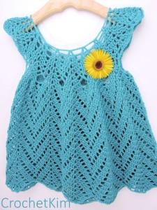 Tulip Chevrons Baby Dress by Kim Guzman of CrochetKim