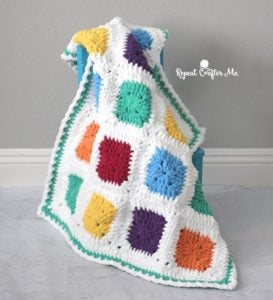 Bright and Bulky Bernat Blanket by Repeat Crafter Me