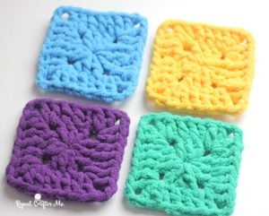 Bright and Bulky Bernat Blanket Squares by Repeat Crafter Me