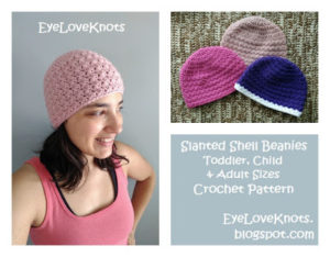 Slanted Shell Beanie - Toddler, Child & Adult Sizes by EyeLoveKnots
