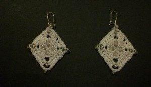 Beaded Diamond Earrings by Candace for Crochet Spot