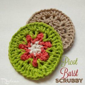 Picot Burst Scrubby by Rhelena of CrochetN'Crafts