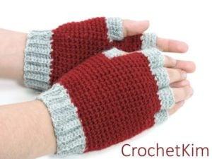 Jersey Mitts for Christian by Kim Guzman of CrochetKim