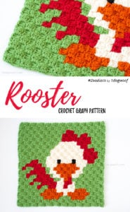 Zoodiacs Rooster C2C Crochet Graph by One Dog Woof