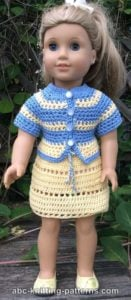 American Girl Doll Elizabeth Summer Skirt and Jacket by ABC Knitting Patterns