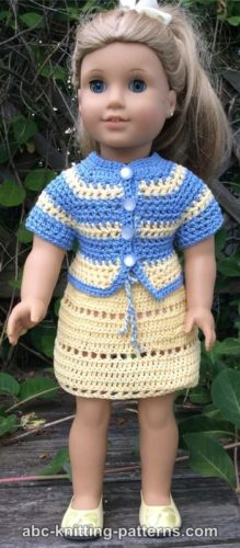Knitting Pattern For American Girl Doll Skirt : American Girl Doll Elizabeth Summer Skirt and Jacket by ABC Knitting Patterns...