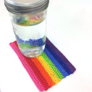 """Colorful Rainbow Mug Rug by Caissa """"Cami"""" McClinton for Crochet Spot"""