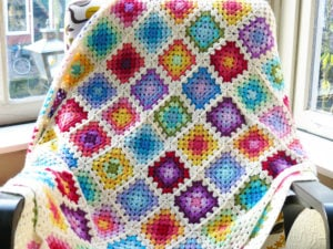 Colorful Rainbow Granny Blanket by Haak Maar Raak