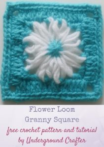 Flower Loom Granny Square by Marie Segares/Underground Crafter
