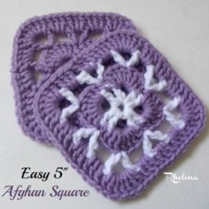 "Easy 5"" Afghan Square by Rhelena of CrochetN'Crafts"