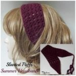 Slanted Puffs Summer Headband by Rhelena of CrochetN'Crafts