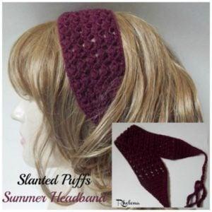 Slanted Puffs Summer Headband by Rhelena of CrochetN'Crafts