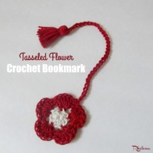 Tasseled Flower Crochet Bookmark by Rhelena of CrochetN'Crafts