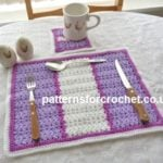 Striped Placemat and Coaster by Patterns For Crochet