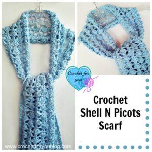 Crochet Shell N Picots Scarf by Erangi Udeshika of Crochet For You