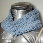 Slanted Puffs Cowl by Rhelena of CrochetN'Crafts