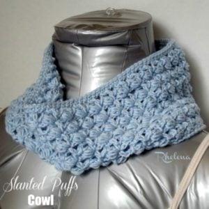 Slanted Puffs Cowl by Rhelena of CrochetN'Crafts