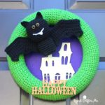 Crochet Halloween Bat Wreath by Repeat Crafter Me