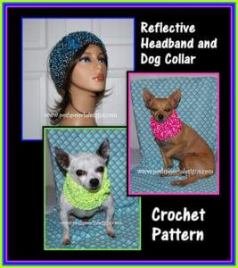 Reflective Headband and Dog Collar by Sara Sach of Posh Pooch Designs