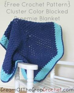 Cluster Color Blocked Preemie Blanket by Cream Of The Crop Crochet