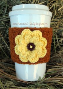 Autumn Fall Flower Coffee Cup Cozy by Enchanted-Ladybug.com
