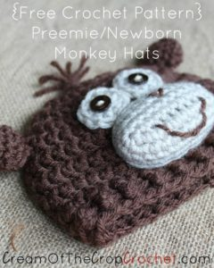 Preemie/Newborn Monkey Hats by Cream Of The Crop Crochet