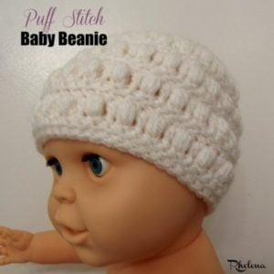 Puff Stitch Baby Beanie by Rhelena of CrochetN'Crafts