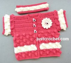 Cardigan and Headband by JustCrochet.com