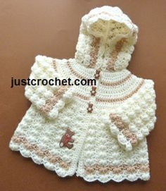 Girls Hooded Jacket by JustCrochet.com