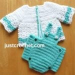 Bibbed Diaper Cover and Cardi by JustCrochet.com