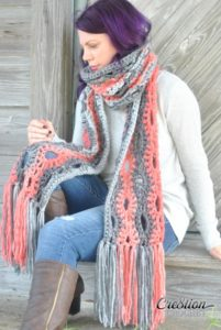 A Poppy in the Storm Super Scarf by Lorene Eppolite of Cre8tion Crochet
