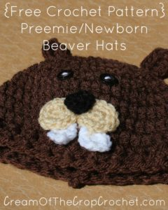 Preemie/Newborn Beaver Hats by Cream Of The Crop Crochet