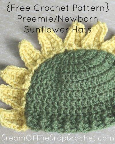 Sunflower Crochet Baby Hat Pattern : Preemie/Newborn Sunflower Hats by Cream Of The Crop ...