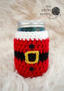 Little Santa Mason Jar Cozy by The Stitchin' Mommy