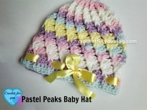 Free Crochet Patterns For Baby Hats And Blankets : Pastel Peaks Crochet Baby Hat by Erangi Udeshika of ...