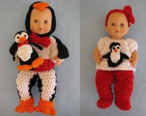 Everyday Outfit and Penguin Costume for Dolls by Donna Collinsworth of Donna's Crochet Designs