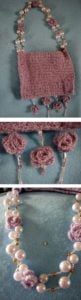 Lace Purse with Pearl Beads and Crochet Roses by Donna Collinsworth of Donna's Crochet Designs