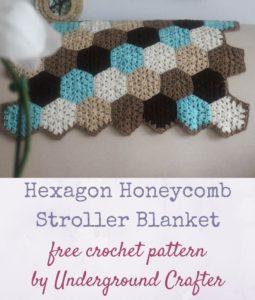 Hexagon Honeycomb Stroller Blanket by Marie Segares/Underground Crafter